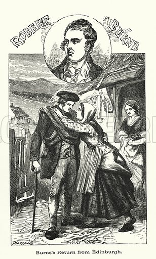 Robert Burns, return to Edinburgh.  Illustration for Men Who Have Made Themselves (James Blackwood, c 1875).