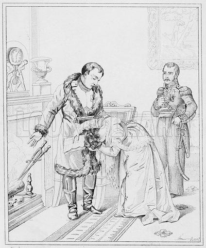 Clemence de l'Empereur, The Emperor's Clemency.  Illustration for The Napoleon Gallery (Henry G Bohn, 1846).