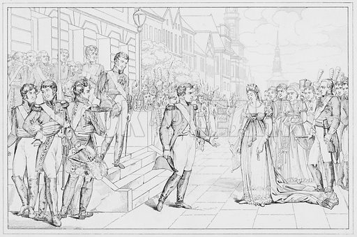 Entrevue de Napoleon et de la Reine de Prussia, Napoleon meets the Queen of Prussia.  Illustration for The Napoleon Gallery (Henry G Bohn, 1846).