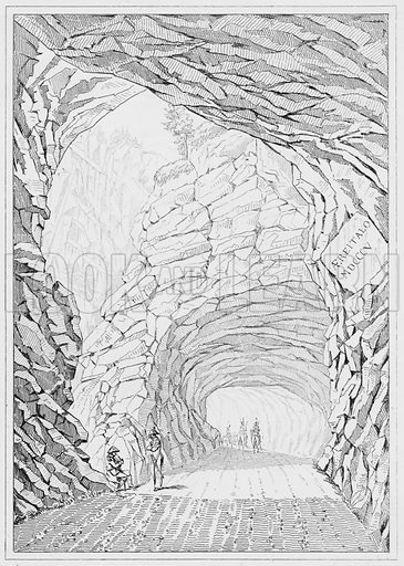 Route du Simplon, The road of the Simplon. Illustration for The Napoleon Gallery (Henry G Bohn, 1846).