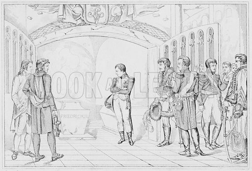 Napoleon au tombeau de Frederic, Napoleon at the tomb of Frederick the Great.  Illustration for The Napoleon Gallery (Henry G Bohn, 1846).
