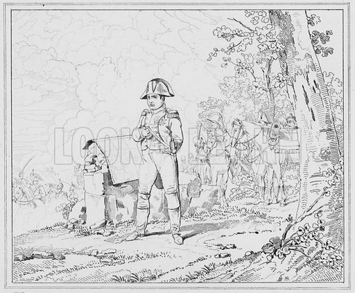 Napoleon a Charleroi, Napoleon at Charleroi.  Illustration for The Napoleon Gallery (Henry G Bohn, 1846).