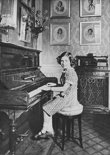 Princess Margaret, playing the piano.  Illustration for Our Princesses at Home by Lisa Sheridan (John Murray, 1940).  Photographs by Studio Lisa. Gravure printed.