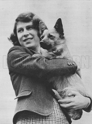 Princess Elizabeth, with her corgy dog, Carol.  Illustration for Our Princesses at Home by Lisa Sheridan (John Murray, 1940).  Photographs by Studio Lisa.  Gravure printed.