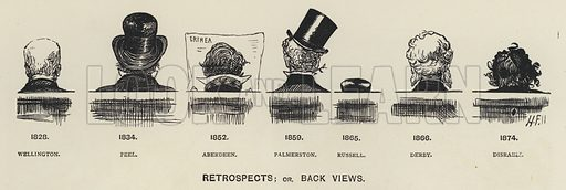Retrospects, or back views of leading politicians of the 19th century: Duke of Wellington, Robert Peel, Lord Aberdeen, Lord Palmerson, Earl Russell, Lord Derby, Benjamin Disraeli.  Illustration for MP's in Session from Mr Punch's Parliamentary Portrait Gallery by Harry Furniss (Bradbury Agnew, 1889).