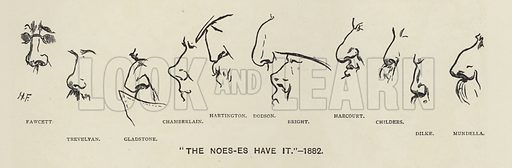 The Noes-es (ie politicians' noses) have it - 1883.  Illustration for MP's in Session from Mr Punch's Parliamentary Portrait Gallery by Harry Furniss (Bradbury Agnew, 1889).