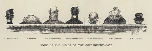 Some of the Heads of the Government, 1882.  Illustration for MP's in Session from Mr Punch's Parliamentary Portrait Gallery by Harry Furniss (Bradbury Agnew, 1889).