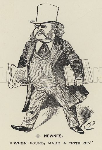 G Newnes.  Illustration for MP's in Session from Mr Punch's Parliamentary Portrait Gallery by Harry Furniss (Bradbury Agnew, 1889).