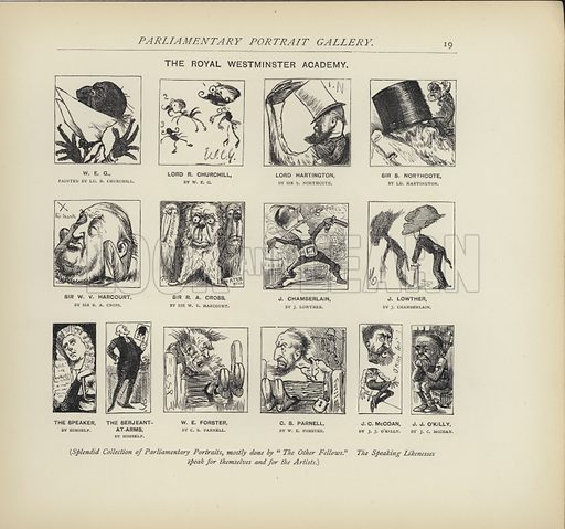 The Royal Westminster Academy - imagining how politicians might paint each other.  Illustration for MP's in Session from Mr Punch's Parliamentary Portrait Gallery by Harry Furniss (Bradbury Agnew, 1889).