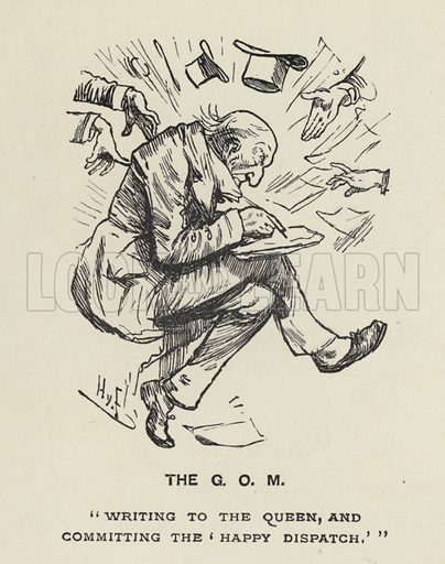The Grand Old Man - GOM - W E Gladstone.  Illustration for MP's in Session from Mr Punch's Parliamentary Portrait Gallery by Harry Furniss (Bradbury Agnew, 1889).