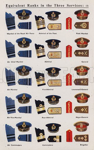 Equivalent ranks in the three services.  Illustration for ABC of the RAF edited by Sir John Hammerton (Amalgamated Press, c 1942).  In two parts - see adjacent image for other part.