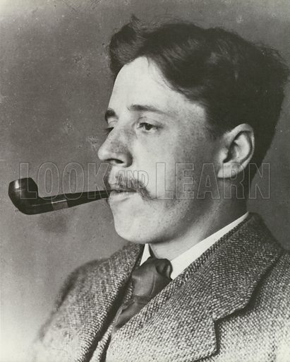 Arnold Bennett, smoking a pipe, portrait.  From later reproduction.