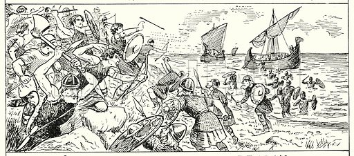 Landing of the Jutes at Ebbsfleet, Kent, AD 449.  Illustration for The Story of Saxon and Norman Britain told in pictures by C W Airne (Sankey Hudson, c 1935).