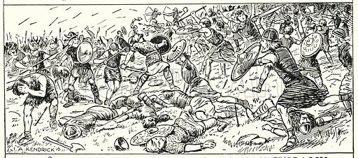 Defeat of the West Saxons at Mount Budon, Somerset, AD 500.  Illustration for The Story of Saxon and Norman Britain told in pictures by C W Airne (Sankey Hudson, c 1935). Signed: J A Kendrick.