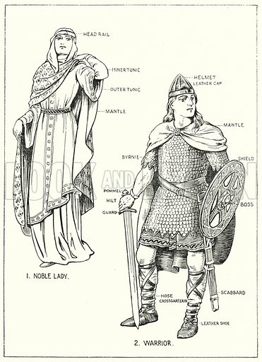 Noble Lady and Warrior.  Illustration for The Story of Saxon and Norman Britain told in pictures by C W Airne (Sankey Hudson, c 1935).