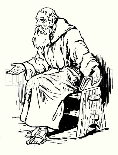 Aidan of Lindisfarne.   Naomh Aodhan (d AD 651) was an Irish monk and missionary credited with restoring Christianity to Northumbria.  Illustration for The Story of Saxon and Norman Britain told in pictures by C W Airne (Sankey Hudson, c 1935).