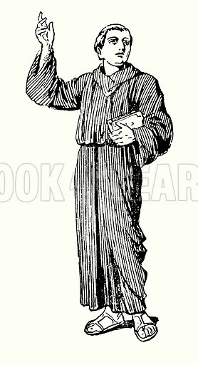 The Roman monk, Paulinus.  Illustration for The Story of Saxon and Norman Britain told in pictures by C W Airne (Sankey Hudson, c 1935).