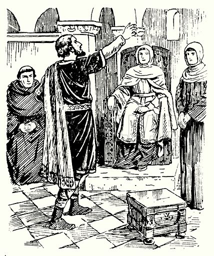 Caedmon singing before the Abbess Hilda.  Illustration for The Story of Saxon and Norman Britain told in pictures by C W Airne (Sankey Hudson, c 1935).