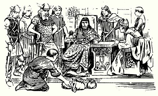 Ethelred pays Danegeld 991.  Illustration for The Story of Saxon and Norman Britain told in pictures by C W Airne (Sankey Hudson, c 1935).