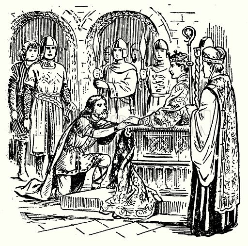 Hereward submitting to William the Conqueror.  Illustration for The Story of Saxon and Norman Britain told in pictures by C W Airne (Sankey Hudson, c 1935).