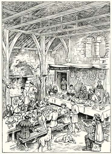 Hall in an Anglo-Norman Manor.  Illustration for The Story of Saxon and Norman Britain told in pictures by C W Airne (Sankey Hudson, c 1935).