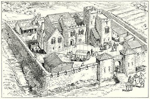 Fortifed Norman Manor House.  Illustration for The Story of Saxon and Norman Britain told in pictures by C W Airne (Sankey Hudson, c 1935).