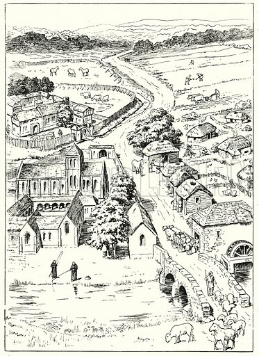 A Norman village, operating on a feudal basis.  Illustration for The Story of Saxon and Norman Britain told in pictures by C W Airne (Sankey Hudson, c 1935).