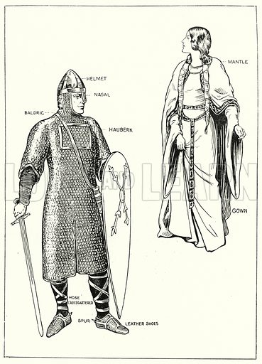 Norman Knight and Lady.  Illustration for The Story of Saxon and Norman Britain told in pictures by C W Airne (Sankey Hudson, c 1935).