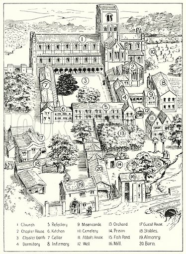 Typical Benedictine monastery in England during the Norman period.  Illustration for The Story of Saxon and Norman Britain told in pictures by C W Airne (Sankey Hudson, c 1935).