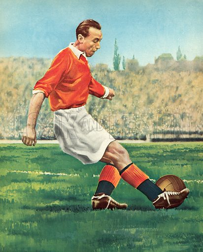 Stanley Matthews, English footballer.  Illustration for Peter Dimmock's Sportsview (Thames Publishing, 1955).