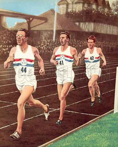 Roger Bannister with his pacemakers, Brasher (leading) and Chataway (behind) at the half-way stage of the historic first four-minute mile, run at Oxford on 7 May 1954.  Illustration for Peter Dimmock's Sportsview (Thames Publishing, 1955).