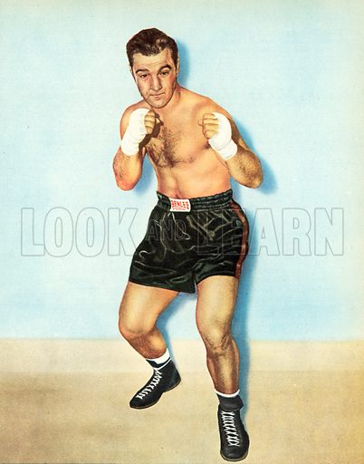 Rocky Marciano, heavyweight boxing champion of the world, unbeaten in forty-eight professional fights.  Illustration for Peter Dimmock's Sportsview (Thames Publishing, 1955).