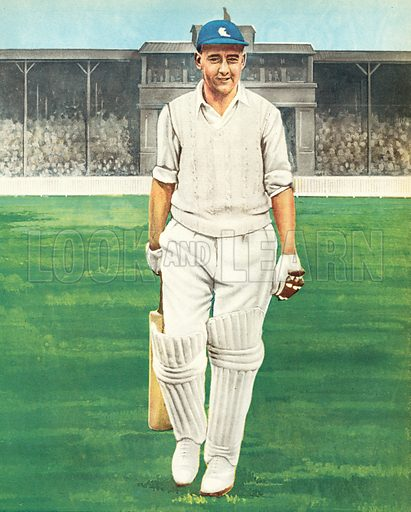 M C Cowdrey, cricketer, Kent and England.  Illustration for Peter Dimmock's Sportsview (Thames Publishing, 1955).