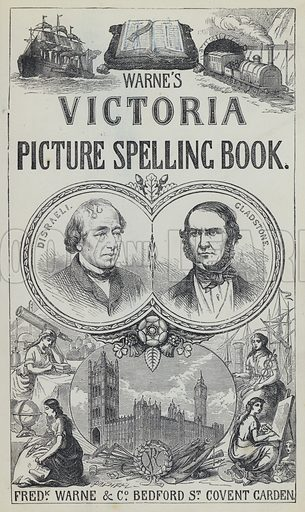 Frontispiece for The Victoria Picture Spelling Book by Mrs Valentine (Frederick Warne, c 1870).