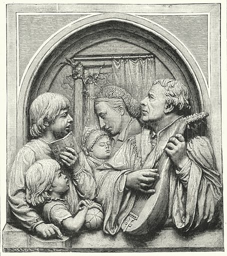 Martin Luther and his family.  Illustration for The Bible Society Gleanings for the Young, January-December 1892.