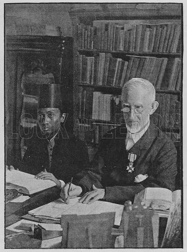 Rev P Jansz, with his native helper, working on a revision of the Javanese Bible.  Illustration for The Bible Society Gleanings for the Young, January-December 1892.