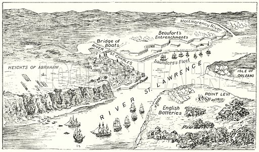 View of Quebec and its defences in 1759.  Illustration for Our Empire's Story by C W Airne (Sankey Hudson, c 1935).