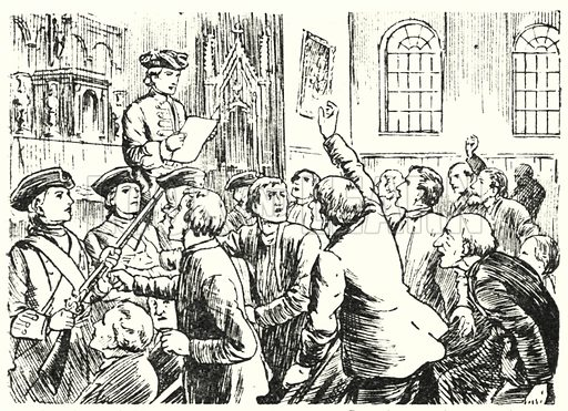 Colonel Winslow, at the church at Grandpre, enforcing a decree expelling Arcadians who would not take an oath of loyalty to England.  Illustration for Our Empire's Story by C W Airne (Sankey Hudson, c 1935).
