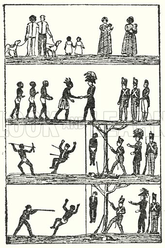 Australia 1816, Governor Davey's proclamation informing aborigines that black and white races will receive equal justice.  Illustration for Our Empire's Story by C W Airne (Sankey Hudson, c 1935).