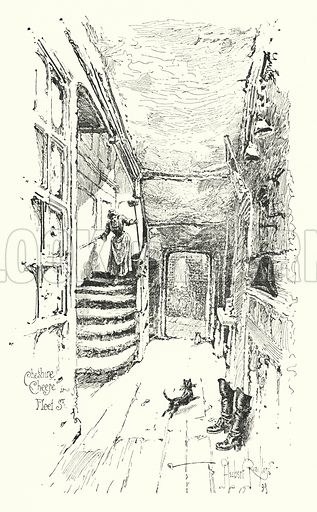 Cheshire Cheese, Fleet Street, London.  Illustration for The Life of Samuel Johnson by James Boswell (Phoenix Book Company, c 1900).