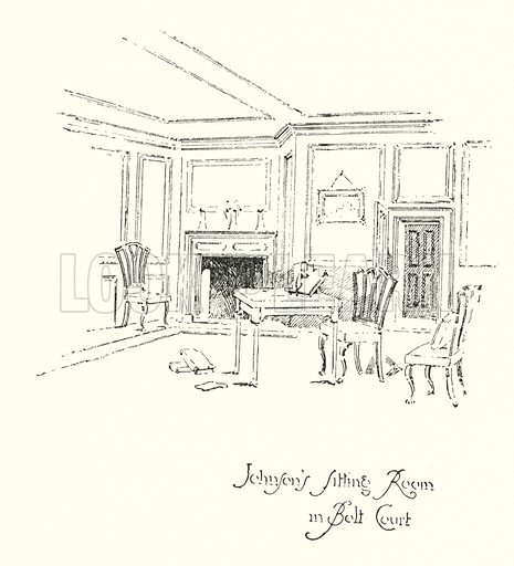 Dr Johnson's Sitting Room in Bolt Court, London.  Illustration for The Life of Samuel Johnson by James Boswell (Phoenix Book Company, c 1900).