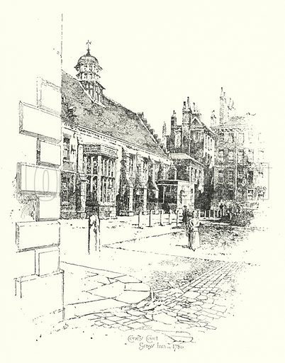 Coney Court, Grays Inn, in 1780.  Illustration for The Life of Samuel Johnson by James Boswell (Phoenix Book Company, c 1900).