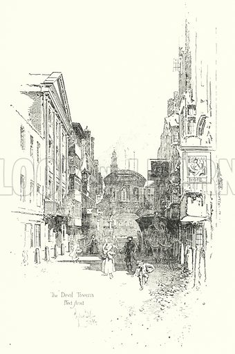 The Devil Tavern, Fleet Street, in the time of Dr Johnson.  Illustration for The Life of Samuel Johnson by James Boswell (Phoenix Book Company, c 1900).