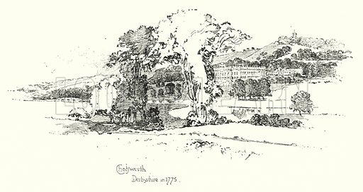 Chatsworth, Derbyshire, in 1775.  Illustration for The Life of Samuel Johnson by James Boswell (Phoenix Book Company, c 1900).