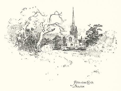 Ashbourne Church, Derbyshire.  Illustration for The Life of Samuel Johnson by James Boswell (Phoenix Book Company, c 1900).
