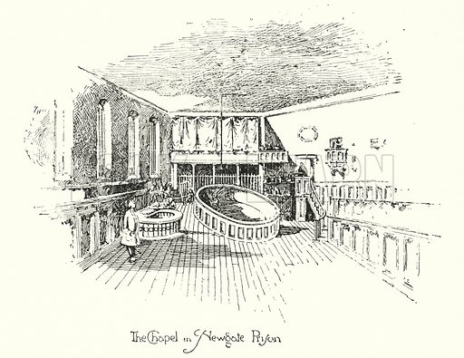 The Chapel, Newgate Prison, London.  Illustration for The Life of Samuel Johnson by James Boswell (Phoenix Book Company, c 1900).
