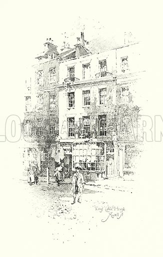 Tom's Coffee House, Russell Street, London.  Illustration for The Life of Samuel Johnson by James Boswell (Phoenix Book Company, c 1900).