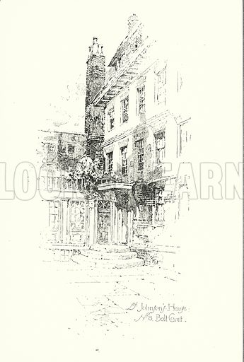Dr Johnson's House, No 8 Bolt Court, London.  Illustration for The Life of Samuel Johnson by James Boswell (Phoenix Book Company, c 1900).