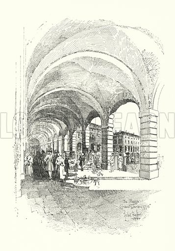 The Piazza, Covent Garden, London, 1775.  Illustration for The Life of Samuel Johnson by James Boswell (Phoenix Book Company, c 1900).