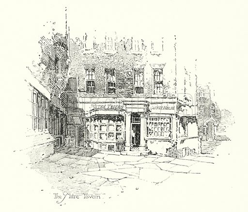 The Mitre Tavern, London.  Illustration for The Life of Samuel Johnson by James Boswell (Phoenix Book Company, c 1900).
